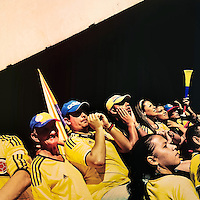 Colombia football fans cheer while watching the football match between Colombia and Uruguay at the FIFA World Cup 2014, in a park in Cali, Colombia, 28 June 2014.