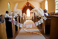 The Emmanuel Church, located in the Marshall Gold Discovery State Historic Park waits for a bride to walk down the aisle in Coloma, California