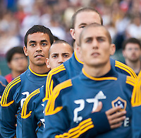 CARSON, CA – July 4, 2011: LA Galaxy forward Miguel Lopez (25) during the National Anthem before the match between LA Galaxy and Seattle Sounders FC at the Home Depot Center in Carson, California. Final score LA Galaxy 0, Seattle Sounders FC 0.