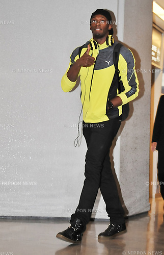 Usain Bolt, October 9, 2012, Tokyo, Japan : Usain Bolt arrives at Narita International Airport in Chiba prefecture, Japan, on October 9, 2012...(Photo by AFLO)