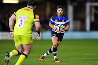 Adam Hastings of Bath Rugby in possession. Anglo-Welsh Cup match, between Bath Rugby and Leicester Tigers on November 4, 2016 at the Recreation Ground in Bath, England. Photo by: Patrick Khachfe / Onside Images