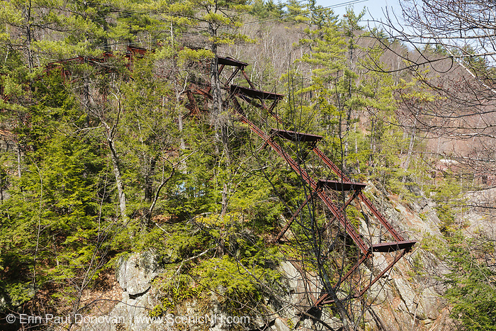 """Remnants of the """"Pumpkin Seed Bridge"""" at Livermore Falls in Campton, New Hampshire USA. This bridge was erected in 1886 by the Berlin Iron Bridge Company and crossed the Pemigewasset River. Its 263 feet long and closed in 1959."""