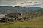 Canadian train along the Thompson River near Kamloops, B.C., Canada