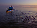 Tom Horton lands a speckled trout into his kayak off Shanks Island in the shallows of Chesapeake Bay.
