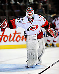 31 March 2010: Carolina Hurricanes' goaltender Manny Legace warms up prior to a game against the Montreal Canadiens at the Bell Centre in Montreal, Quebec, Canada. The Hurricanes defeated the Canadiens 2-1 in their last home meeting of the regular season. Mandatory Credit: Ed Wolfstein Photo