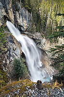 Panther Falls, Banff National Park.  Panther Falls drops 218 feet in a massive explosive plunge as the creek flows towards the North Saskatchewan River.