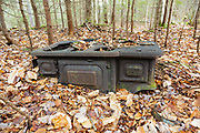 Swift River Railroad - Artifact (cooking stove) at Holland Camp which was a logging camp located in the Sabbaday Brook drainage of the White Mountains, New Hampshire USA. This was a logging railroad in operation from 1906-1916. The Noyes & Goddard stove was produced from 1886-1902.