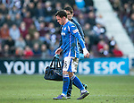 Hearts v St Johnstone&hellip;19.03.16  Tynecastle, Edinburgh<br />Danny Swanson limps off<br />Picture by Graeme Hart.<br />Copyright Perthshire Picture Agency<br />Tel: 01738 623350  Mobile: 07990 594431