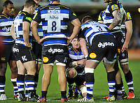 Stuart Hooper of Bath Rugby speaks to his team-mates during a break in play. Aviva Premiership match, between Bath Rugby and Gloucester Rugby on February 5, 2016 at the Recreation Ground in Bath, England. Photo by: Patrick Khachfe / Onside Images