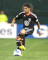 Cristian Castillo #12 of D.C. United stops the ball during an MLS match against the New England Revolution on April 3 2010, at RFK Stadium in Washington D.C.