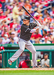 22 September 2013: Miami Marlins outfielder Chris Coghlan in action against the Washington Nationals at Nationals Park in Washington, DC. The Marlins defeated the Nationals 4-2 in the first game of their day/night double-header. Mandatory Credit: Ed Wolfstein Photo *** RAW (NEF) Image File Available ***