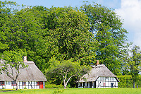 Quaint traditional half-timbered thatch cottages at Egeskov in south of the island of Funen, Denmark