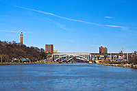 Three of the bridges that cross the Harlem River are visible, High Bridge, Alexander Hamilton Bridge, Washington Bridge, connect  Manhattan and Bronx New York City, New York, USA