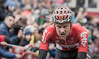 Tim Wellens (BEL/Lotto-Soudal) crossing the finish line 3rd<br /> <br /> 11th Strade Bianche 2017