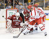 Ryan Carroll (Harvard - 35), Ryan Grimshaw (Harvard - 6), Ross Gaudet (BU - 22), Joe Pereira (BU - 6) - The Harvard University Crimson defeated the Boston University Terriers 5-4 in the 2011 Beanpot consolation game on Monday, February 14, 2011, at TD Garden in Boston, Massachusetts.