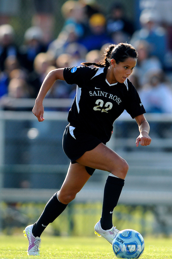 03 DEC 2011: Gianna D'Errico (22) of Saint Rose moves the ball down field during the Division II Women's Soccer Championship held at the Ashton Brosnaham Soccer Complex in Pensacola, FL.  Saint Rose defeated Grand Valley State 2-1 to win the national title.  Stephen Nowland/NCAA Photos