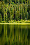 Gunnsion National Forest reflecting in Lost Lake Slogh. Near Crested Butte, Colorado.