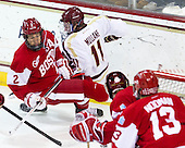 Ryan Ruikka (BU - 2), Pat Mullane (BC - 11) - The Boston College Eagles defeated the visiting Boston University Terriers 5-2 on Saturday, December 1, 2012, at Kelley Rink in Conte Forum in Chestnut Hill, Massachusetts.