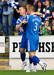 St Johnstone v St Mirren...11.09.10  .Andy Jackson celebrates his goal with Danny Grainger.Picture by Graeme Hart..Copyright Perthshire Picture Agency.Tel: 01738 623350  Mobile: 07990 594431