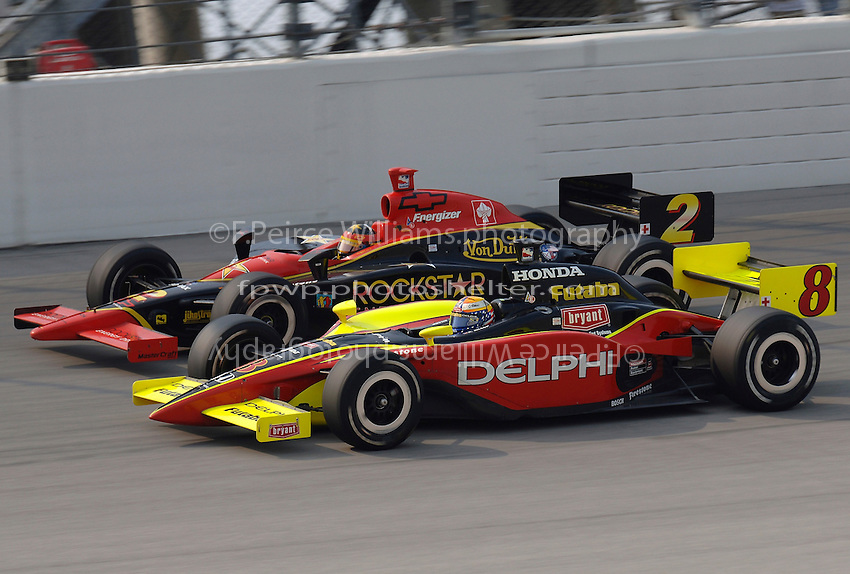 11 September, 2005, Joliet,IL,USA<br /> Scott Sharp (8) and Tomas Enge.<br /> Copyright&copy;F.Peirce Williams 2005