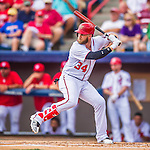 13 March 2016: Washington Nationals outfielder Bryce Harper in action during a pre-season Spring Training game against the St. Louis Cardinals at Space Coast Stadium in Viera, Florida. The teams played to a 4-4 draw in Grapefruit League play. Mandatory Credit: Ed Wolfstein Photo *** RAW (NEF) Image File Available ***
