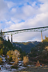 The Foresthill Bridge surrounded by a rare, low snowfall, Auburn, California.