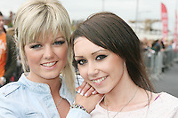 28/6/2010. The X Factor hopefulls Laura Hannon and Lisa Neill from Co Down are pictured outside the Dublin Convention center Spencer Dock. Picture James Horan/Collins.