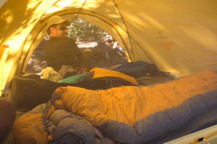 The inside view of a very comfortable Black Diamond tent.