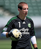 CARSON, CA - June 17, 2012: Portland Timbers goalie Troy Perkins (1) prior to the LA Galaxy vs Portland Timbers match at the Home Depot Center in Carson, California. Final score LA Galaxy 1, Portland Timbers 0.
