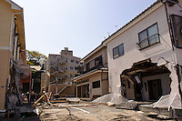 Buildings damaged by the March 11 tsunami, Ishinomaki, Miyagi Prefecture, Japan, May 5, 2011. Almost two months after the devastating earthquake and tsunami the reconstruction has barely begun.