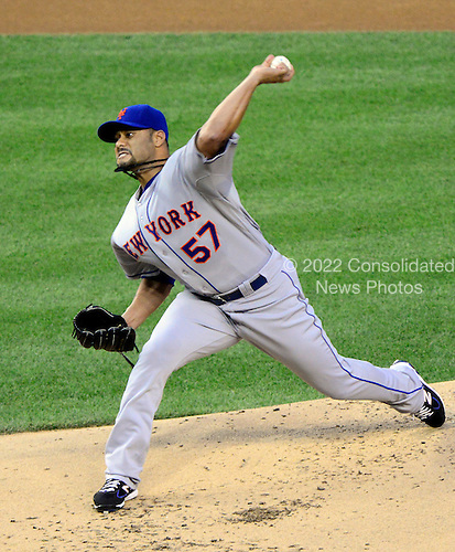 New York Mets pitcher Johan Santana (57) works in the first inning against the Washington Nationals at Nationals Park in Washington, D.C. on Friday, August 17, 2012..Credit: Ron Sachs / CNP.(RESTRICTION: NO New York or New Jersey Newspapers or newspapers within a 75 mile radius of New York City)