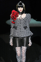 Yasmina walks runway in an I Want U 2 Want Me outfit, from the Betsey Johnson Fall 2011 He Loves Me Not - Black Tag collection, during Mercedes-Benz Fashion Week Fall 2011.
