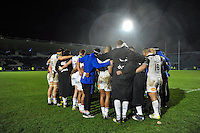 The Bath Rugby squad huddle together after the match. European Rugby Champions Cup match, between Leinster Rugby and Bath Rugby on January 16, 2016 at the RDS Arena in Dublin, Republic of Ireland. Photo by: Patrick Khachfe / Onside Images