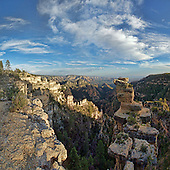 Limestone towers are in abundance at the edge of the Mogollon Rim as well as the views down to Sedona's red rocks.
