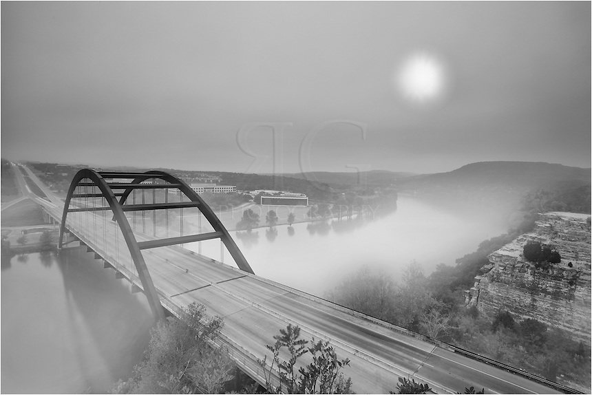 I was expecting a little different conditions when I arrived at the 360 Bridge (Pennybacker Bridge) outside of Austin, Texas, but with the fog rolling through and the thin layer of clouds, I was able to capture this interesting view of the river with the hills in the background.