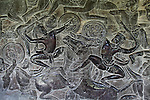 "A bas-relief carving depicts an ancient battle from the Hindu ""Mahabharata"" epic on a wall of the west gallery of Angkor Wat, Cambodia.  June 7, 2013."