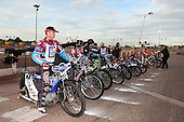 The riders line up for the fans before the meeting - Lakeside Hammers vs Wolverhampton Wolves - Elite League Speedway at Arena Essex Raceway - 16/05/11 - MANDATORY CREDIT: Gavin Ellis/TGSPHOTO - Self billing applies where appropriate - Tel: 0845 094 6026