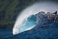 An empty wave breaks at a reef pass near Teahupoo, Tahiti, (Friday May 15 2009.) Photo: joliphotos.com