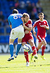 St Johnstone v Aberdeen...23.08.14  SPFL<br /> Russell Anderson and Gary McDonald colide<br /> Picture by Graeme Hart.<br /> Copyright Perthshire Picture Agency<br /> Tel: 01738 623350  Mobile: 07990 594431