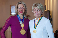 Krasnodar, Russia, 17/03/2009..World champion heptathlete Tatyana Chernova with mother Ludmilla, who won gold in the 1980 Moscow Olympic Games, in their apartment in their home city of Krasnodar. Chernova, who won bronze in the Beijing Olympic Games, is tipped for gold in London.