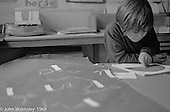 Working on a map of the stars, the constellations, Summerhill school, Leiston, Suffolk, UK. 1968.