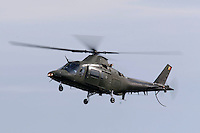 Belgian Air Force helicopter Agusta  A109A during a display at Rygge Airshow. Norway