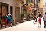 Shopping street in Como, Italy on Lake Como