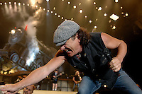 Brian Johnson of Australian rock band AC/DC performs during a concert on their Black Ice tour, Friday, Jan. 9, 2009, at the Rogers Centre in Toronto. (Arthur Mola/pressphotointl.com)