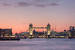 tower bridge seen at sunset in january 2010 with light cloud and pink back drop