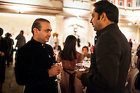 (L-R) Nirav Modi and Maharaj Narendra Singh of Jaipur share a conversation at the OzFest Gala Dinner in the Jaipur City Palace, in Rajasthan, India on 10 January 2013. Photo by Suzanne Lee