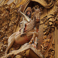 Equestrian statue of St James by Alonso de Mena, 1587-1646, from The Triunfo de Santiago altarpiece, made 1707-8 by Francisco Hurtado Izquierdo, 1669-1725, Granada Cathedral, or the Cathedral of the Incarnation, built 16th and 17th centuries in Renaissance style with Baroque elements, Granada, Andalusia, Southern Spain. Several architects worked on the cathedral, which, unusually, has 5 naves and a circular capilla mayor instead of an apse. Granada was listed as a UNESCO World Heritage Site in 1984. Picture by Manuel Cohen