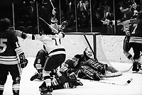 California Golden Seals vs St. Louis Blues, Seals goal Reggie Leach, Stan Weir,#26 Gary Veneruzzo. (1972 photo/Ron Riesterer)