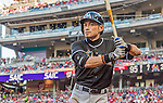 19 September 2015: Miami Marlins outfielder Ichiro Suzuki stands on deck during a game against the Washington Nationals at Nationals Park in Washington, DC. The Marlins fell to the Nationals 5-2 in the third game of their 4-game series. Mandatory Credit: Ed Wolfstein Photo *** RAW (NEF) Image File Available ***
