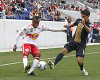 Shea Salinas #11 of the Philadelphia Union tries to stop a cross from Jeremy Hall #17 of the New York RedBulls during a MLS  match on April 24 2010, at RedBull Arena, in Harrison, New Jersey. RedBulls won 2-1.